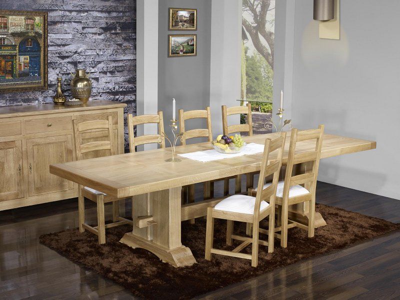 table monast re rectangulaire 220x100 en ch ne massif 2 allonges de 40 cm finition ch ne bross. Black Bedroom Furniture Sets. Home Design Ideas