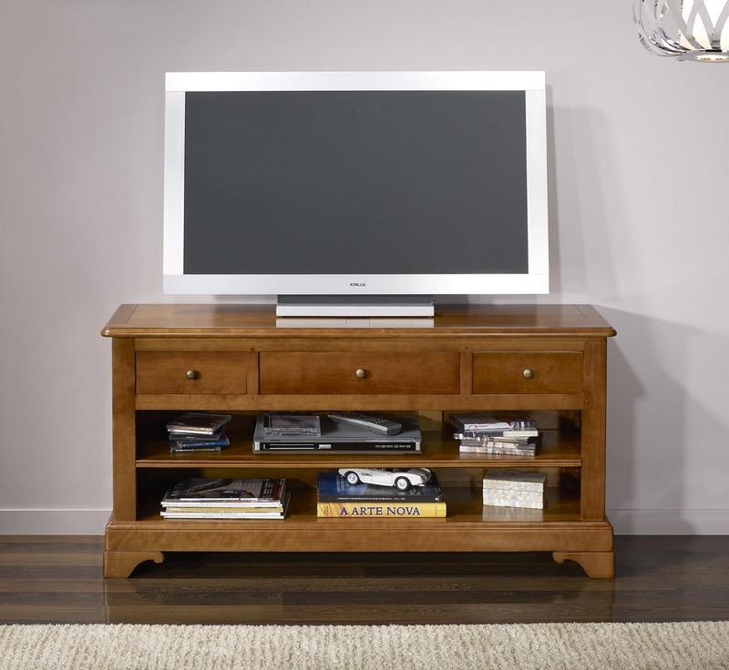 Meube tv gabriel 16 9eme en merisier massif de style louis - Meubles en merisier style louis philippe ...