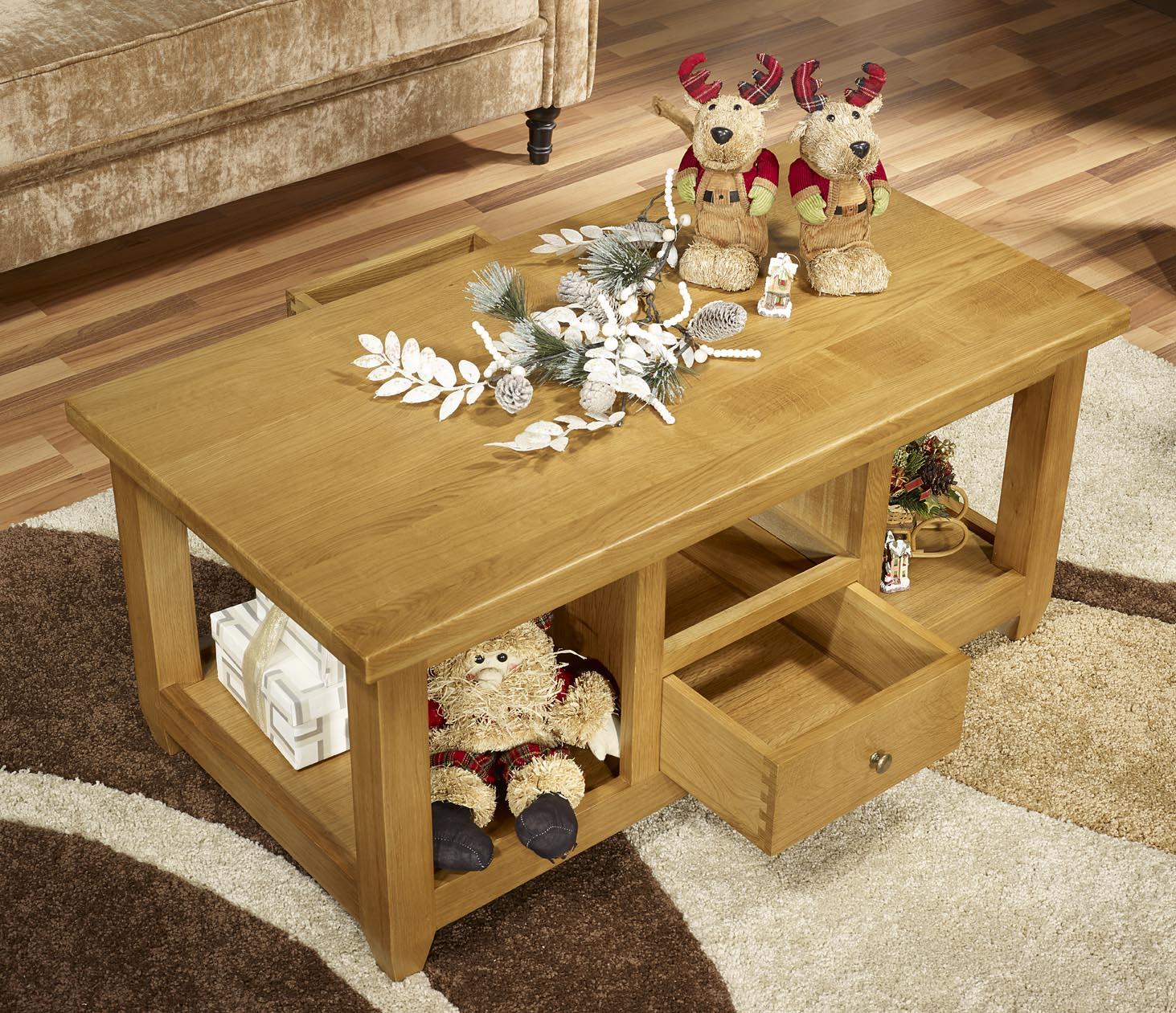 Table basse Thomas en Chêne Massif de style Campagnard , meuble en Chêne massif