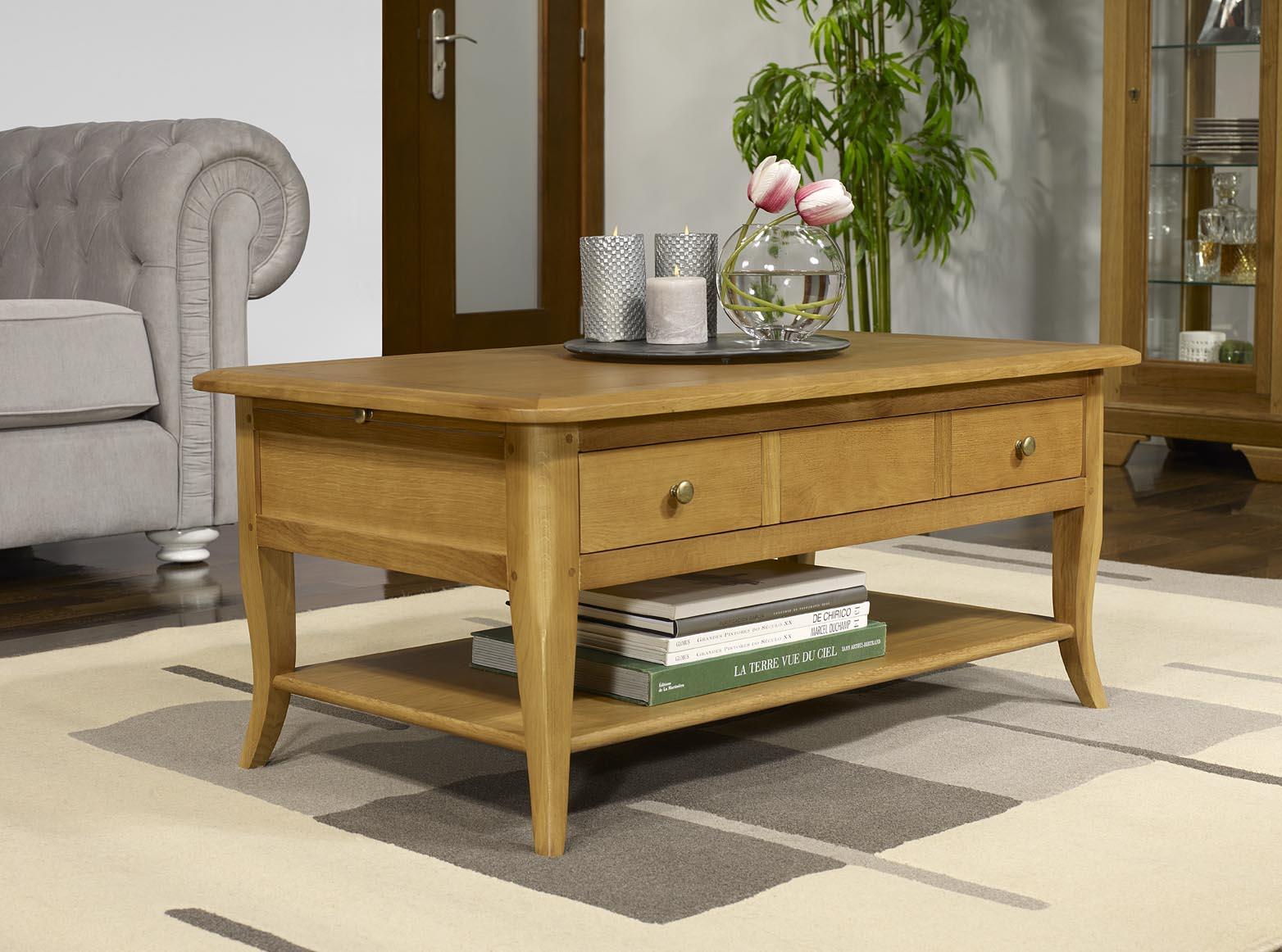 Table basse rectangulaire mathieu en ch ne de style louis Table basse bois rectangulaire