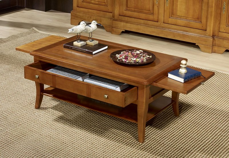 table basse rectangulaire alba en merisier de style louis philippe meuble en merisier massif. Black Bedroom Furniture Sets. Home Design Ideas