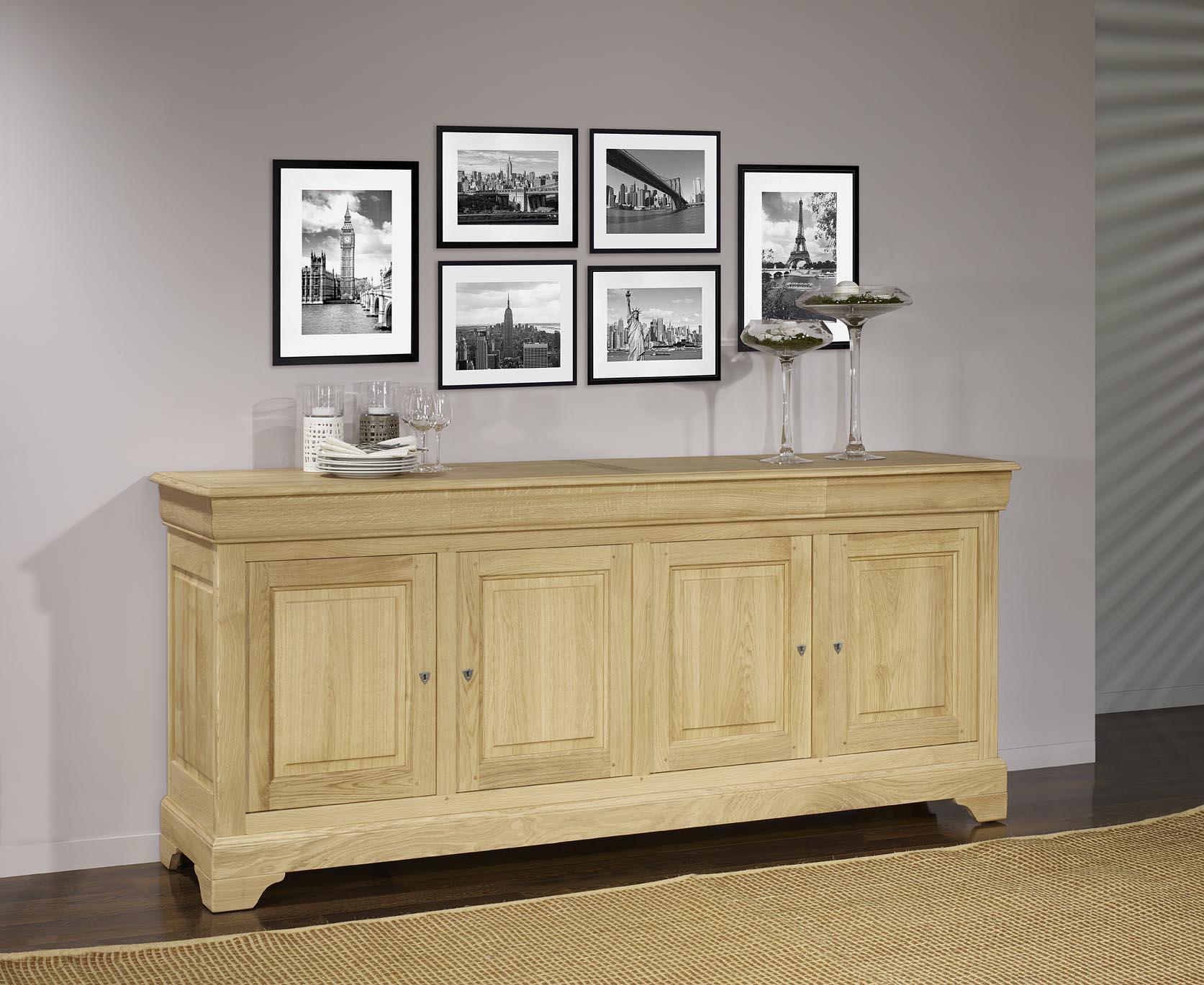 buffet 4 portes gael en ch ne massif de style louis philippe finition ch ne bross meuble en. Black Bedroom Furniture Sets. Home Design Ideas