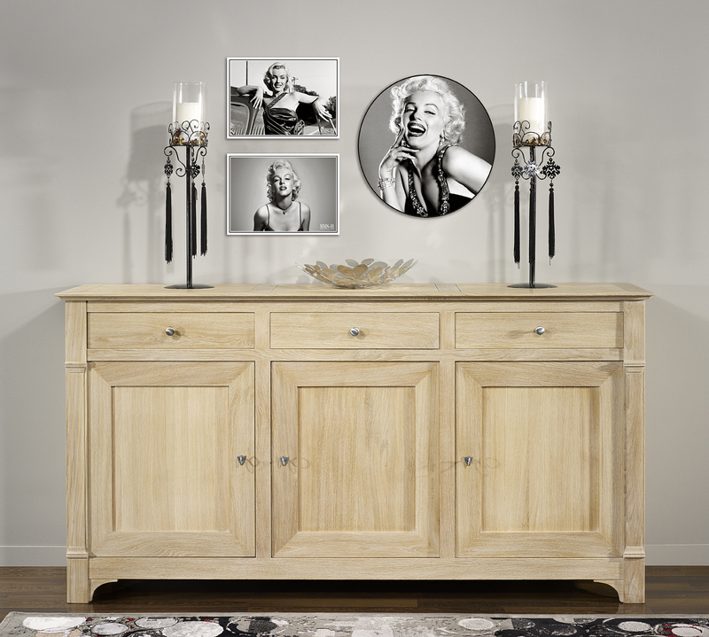buffet 3 portes 3 tiroirs l o en ch ne massif de style. Black Bedroom Furniture Sets. Home Design Ideas