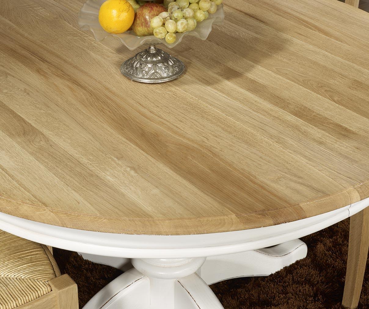 Table ronde pied central en ch ne massif de style louis - Table ronde bois blanc avec rallonge ...