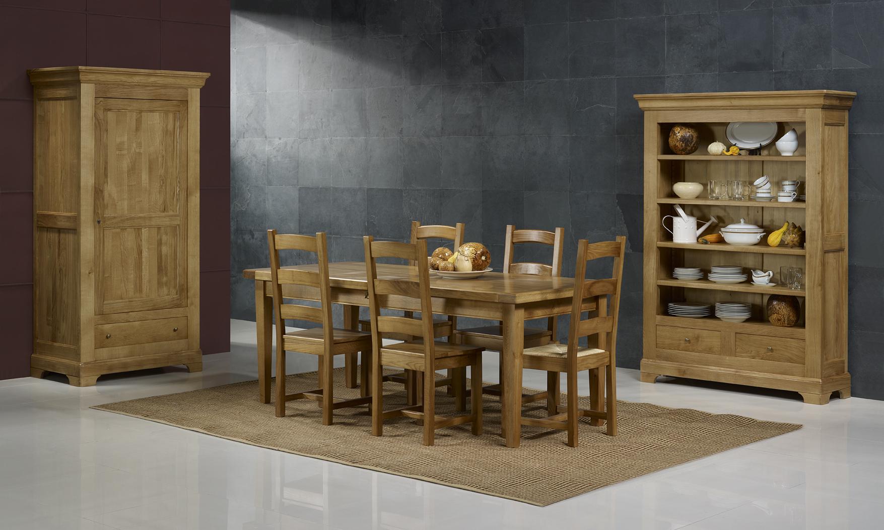 Table de ferme rectangulaire francois en ch ne massif 220 for La ferme du meuble