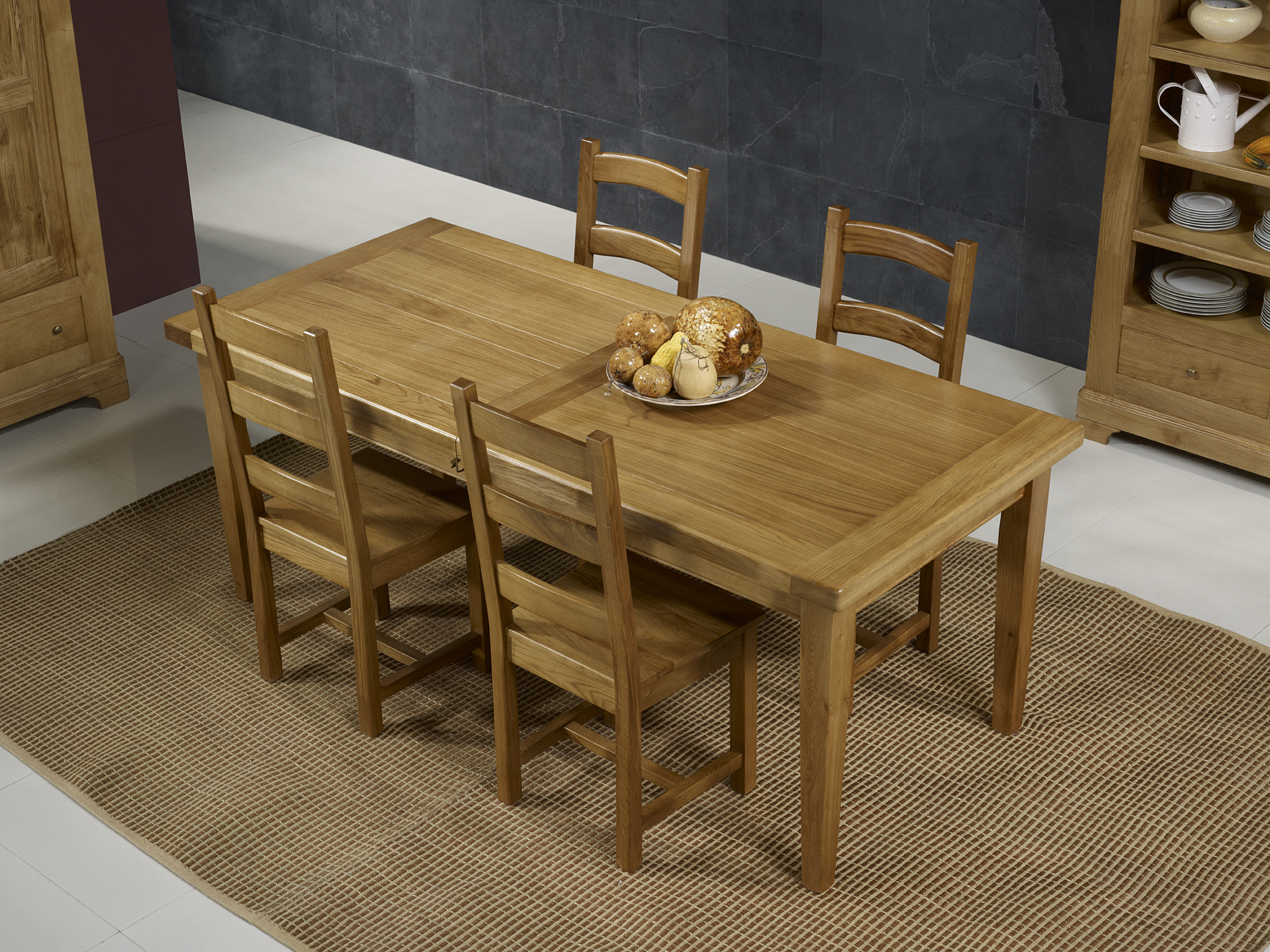 Table de ferme rectangulaire francois en ch ne massif 220 100 2 allonges de 45 cm meuble en - Table bois massif ...