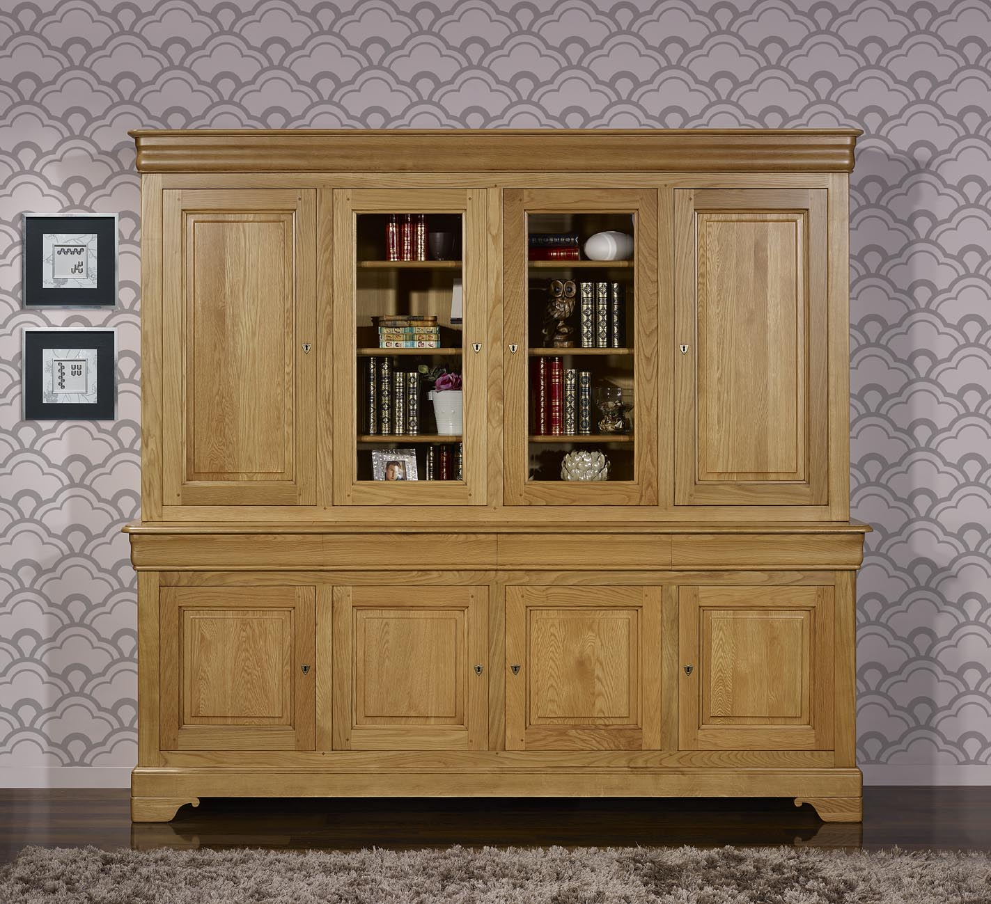 bibliotheque 2 corps 4 portes jean baptiste en ch ne massif de style louis philippe meuble en. Black Bedroom Furniture Sets. Home Design Ideas
