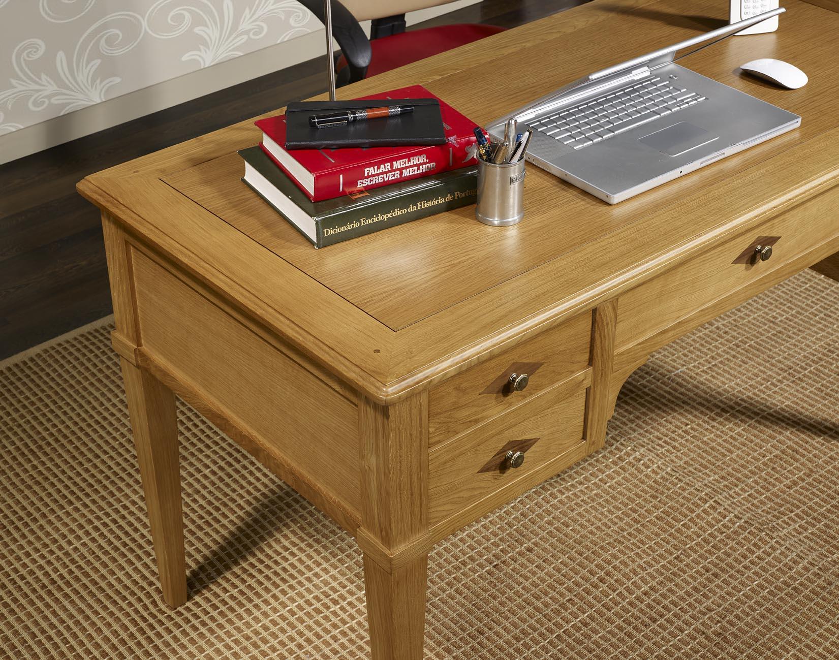 bureau ministre 5 tiroirs jean christian en ch ne de style. Black Bedroom Furniture Sets. Home Design Ideas