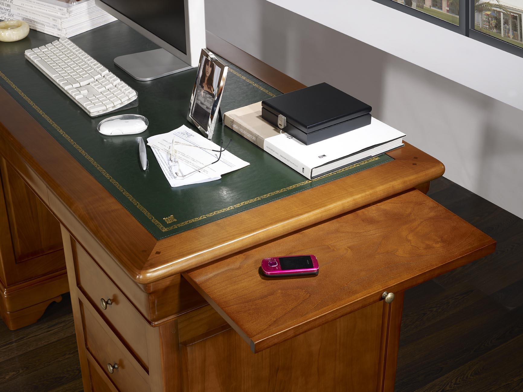 bureau ministre 9 tiroirs en merisier massif de style. Black Bedroom Furniture Sets. Home Design Ideas