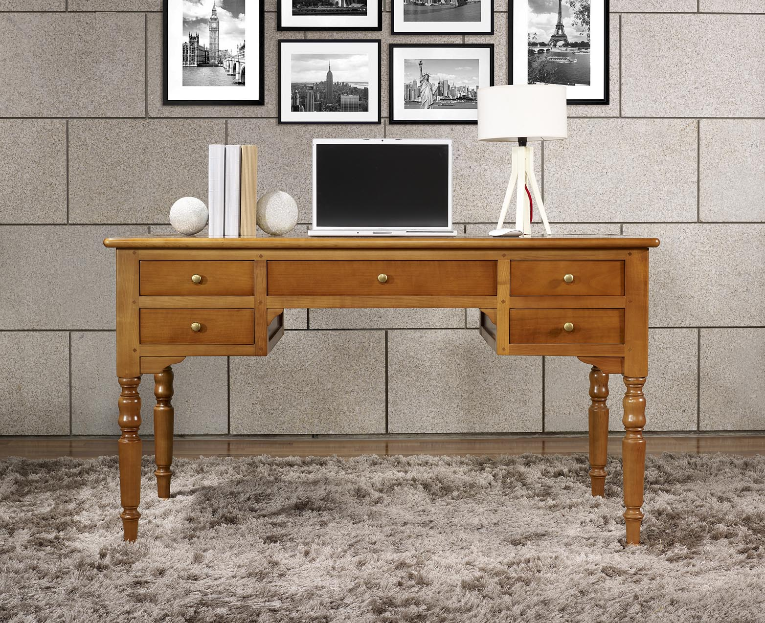 bureau ministre 5 tiroirs en merisier massif de style. Black Bedroom Furniture Sets. Home Design Ideas