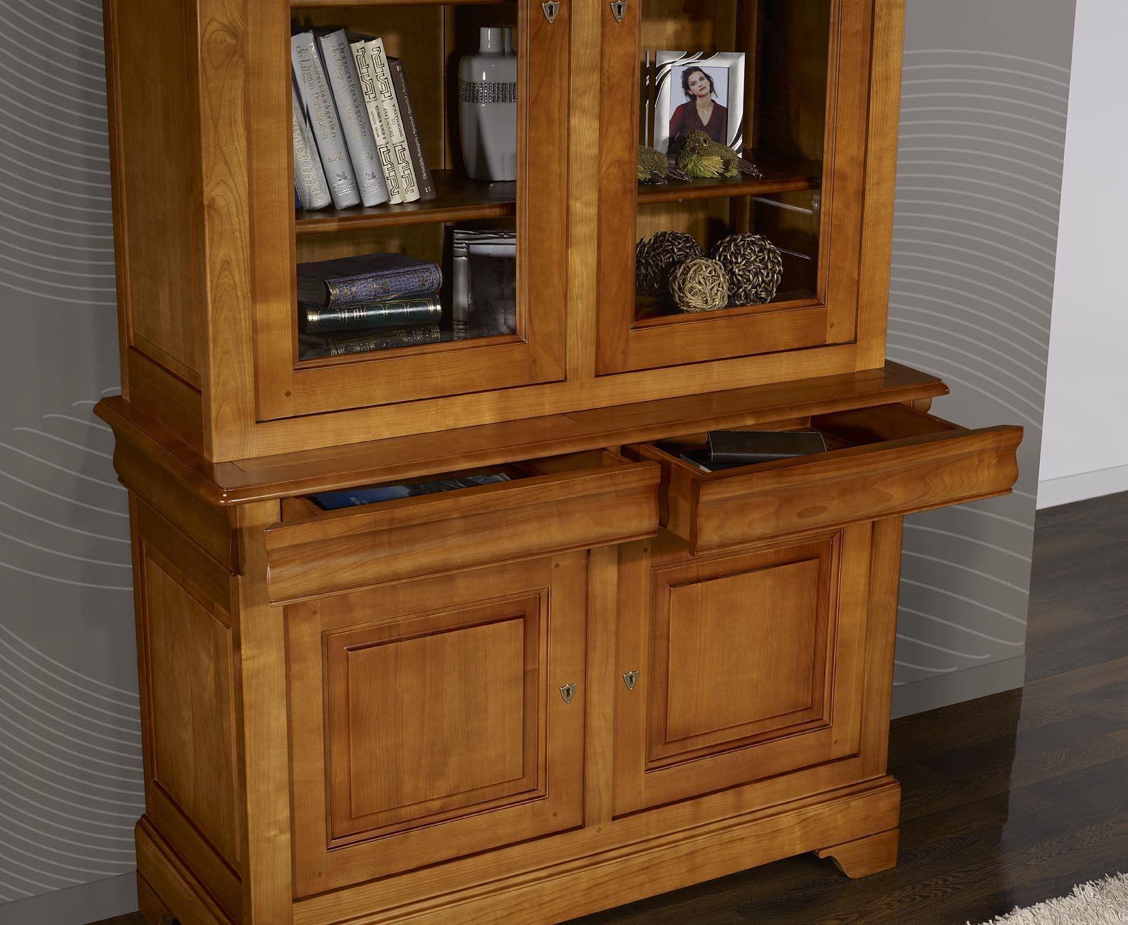 Biblioth que 2 corps 2 portes en merisier massif de style louis philippe largeur 130 cm meuble - Meuble merisier style louis philippe ...