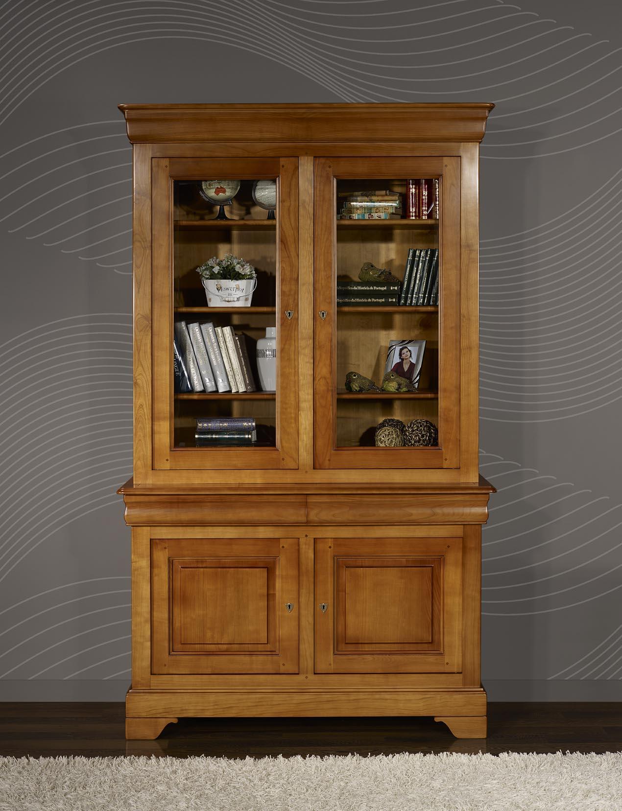 Biblioth que 2 corps 2 portes en merisier massif de style for Meuble louis philippe