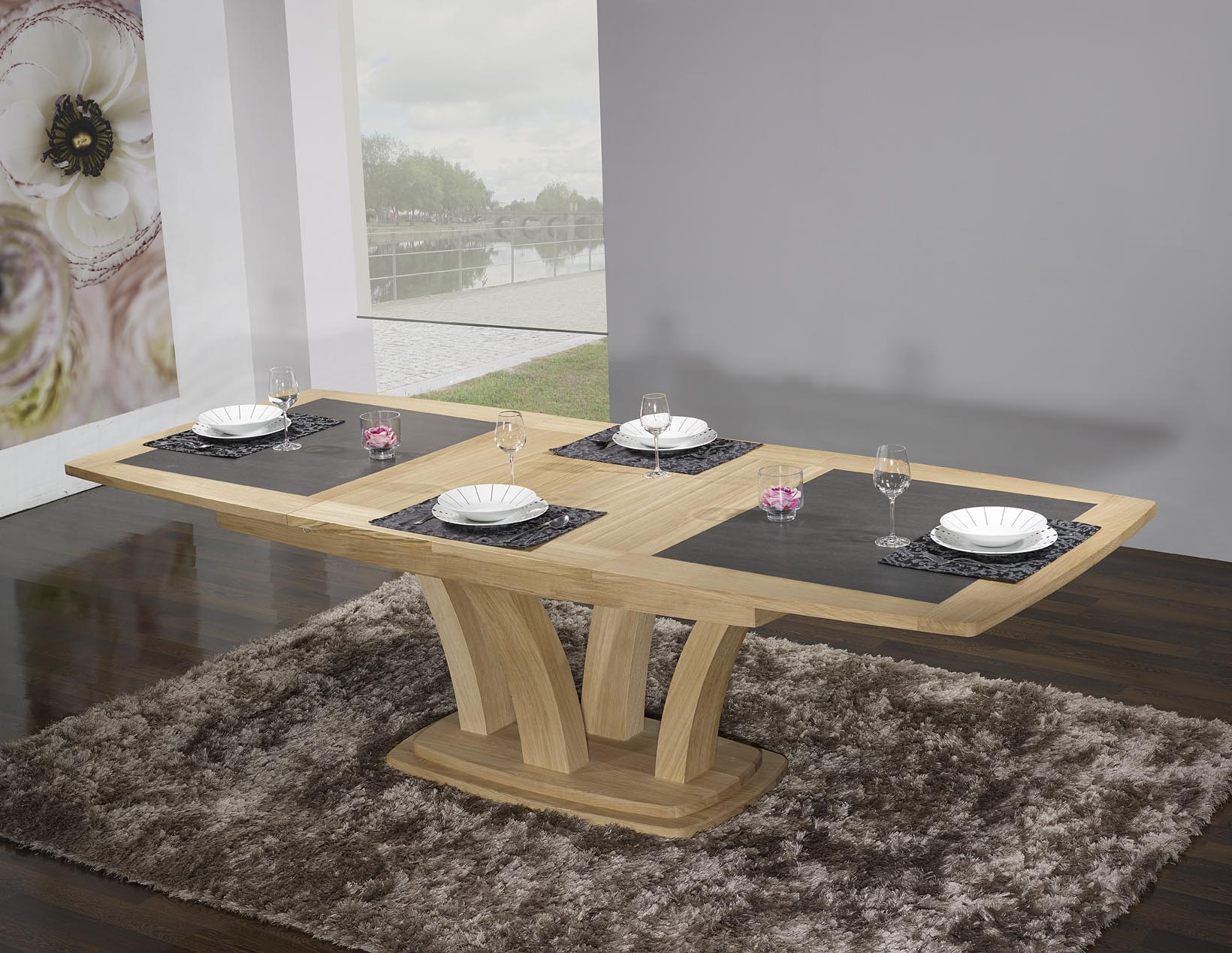 table de repas contemporaine 180x110 en ch ne massif avec. Black Bedroom Furniture Sets. Home Design Ideas