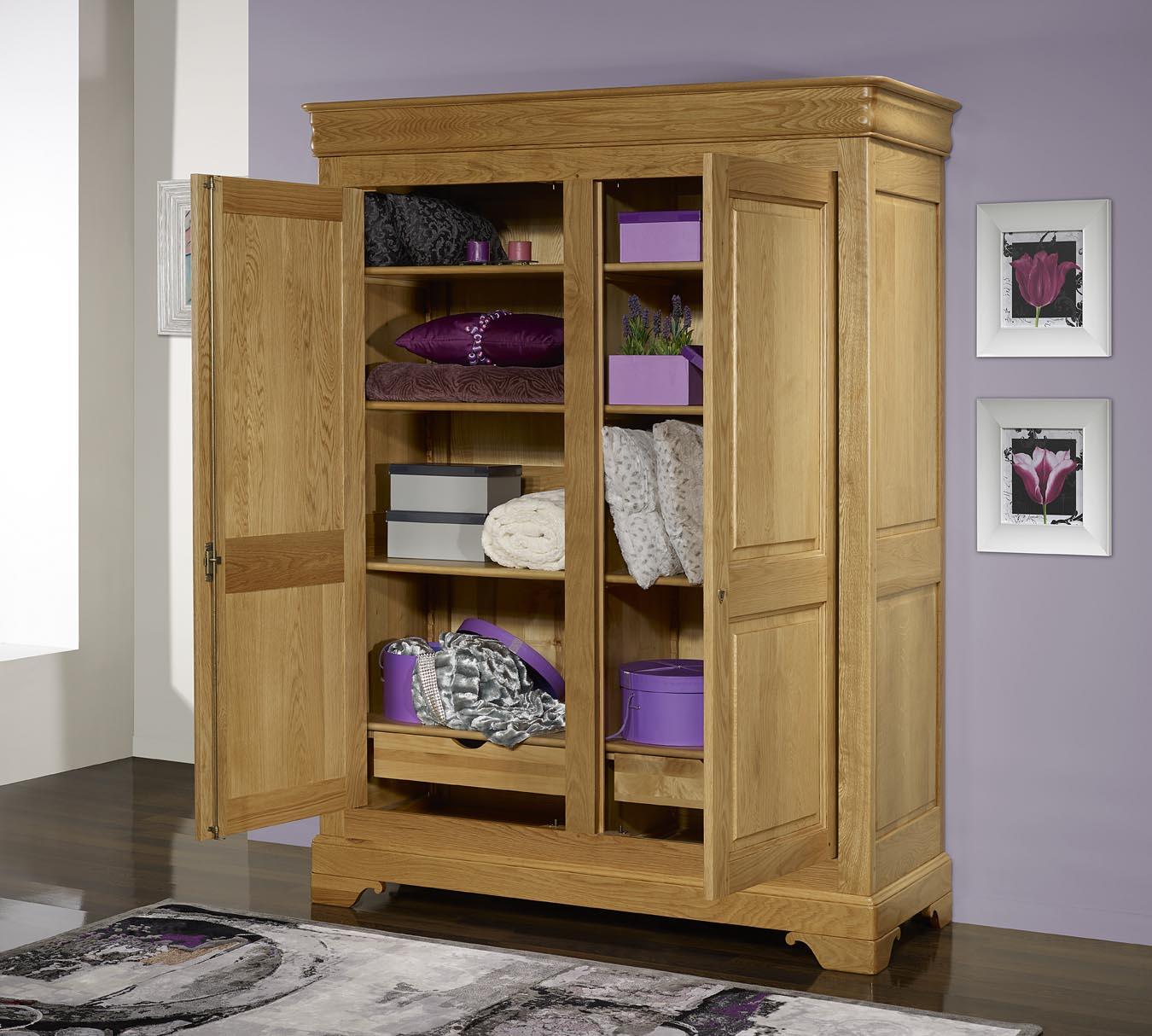 armoire 2 portes en ch ne massif de style louis philippe meuble en ch ne massif. Black Bedroom Furniture Sets. Home Design Ideas