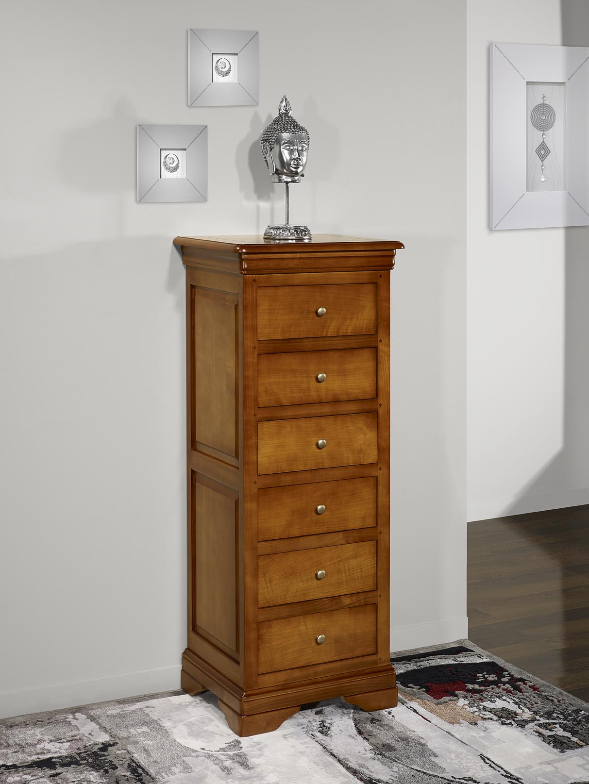 chiffonnier 6 tiroirs adriana en merisier massif de style. Black Bedroom Furniture Sets. Home Design Ideas