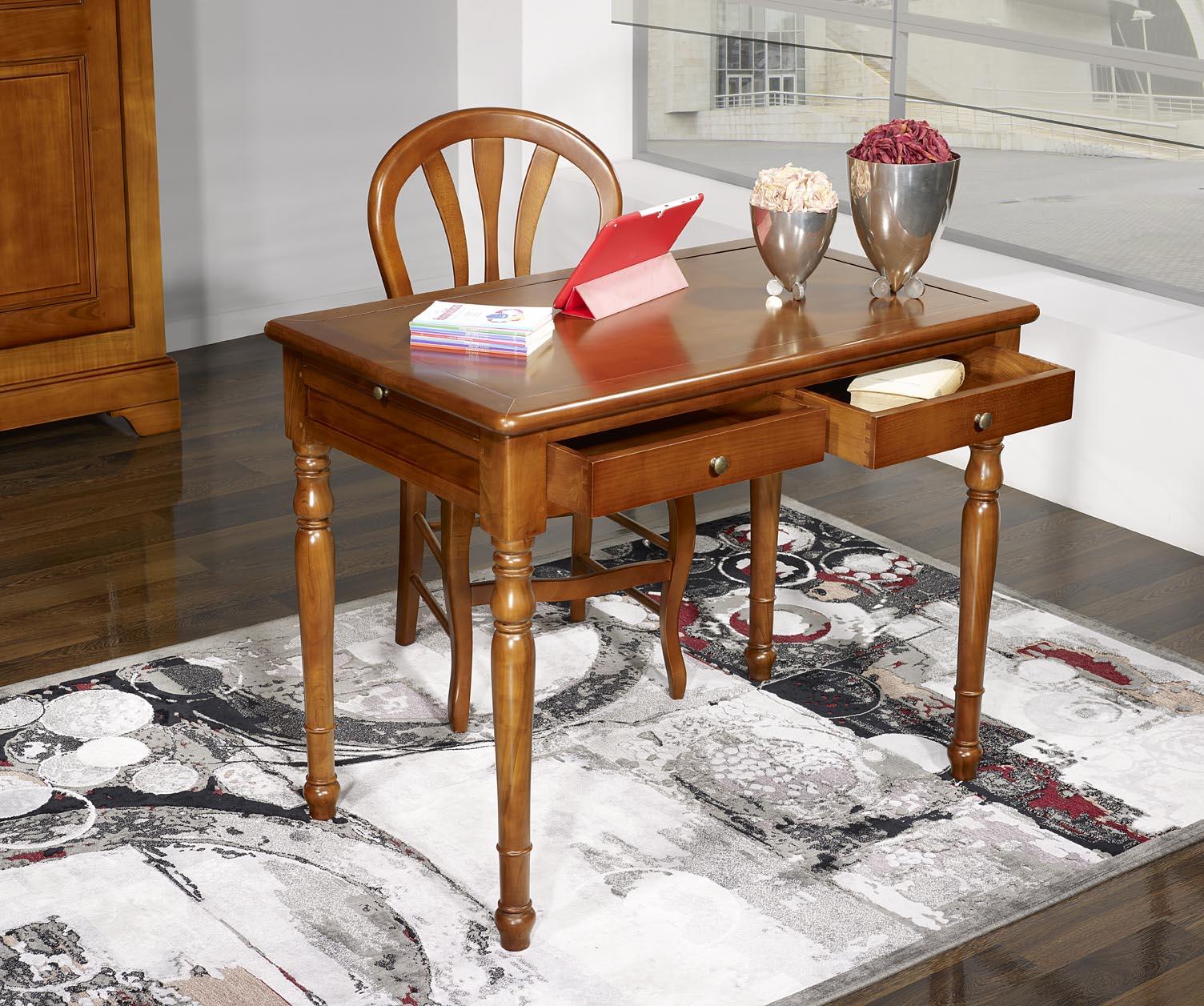 table d 39 criture 2 tiroirs e en merisier de style louis. Black Bedroom Furniture Sets. Home Design Ideas