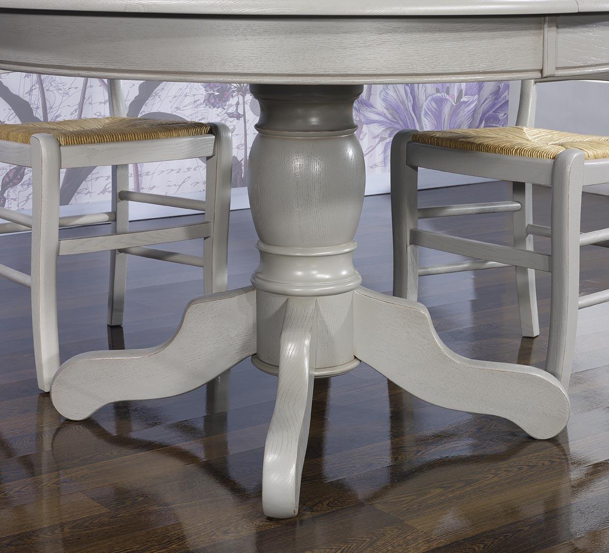 Table ronde pied central en ch ne massif de style louis - Table pied central bois ...