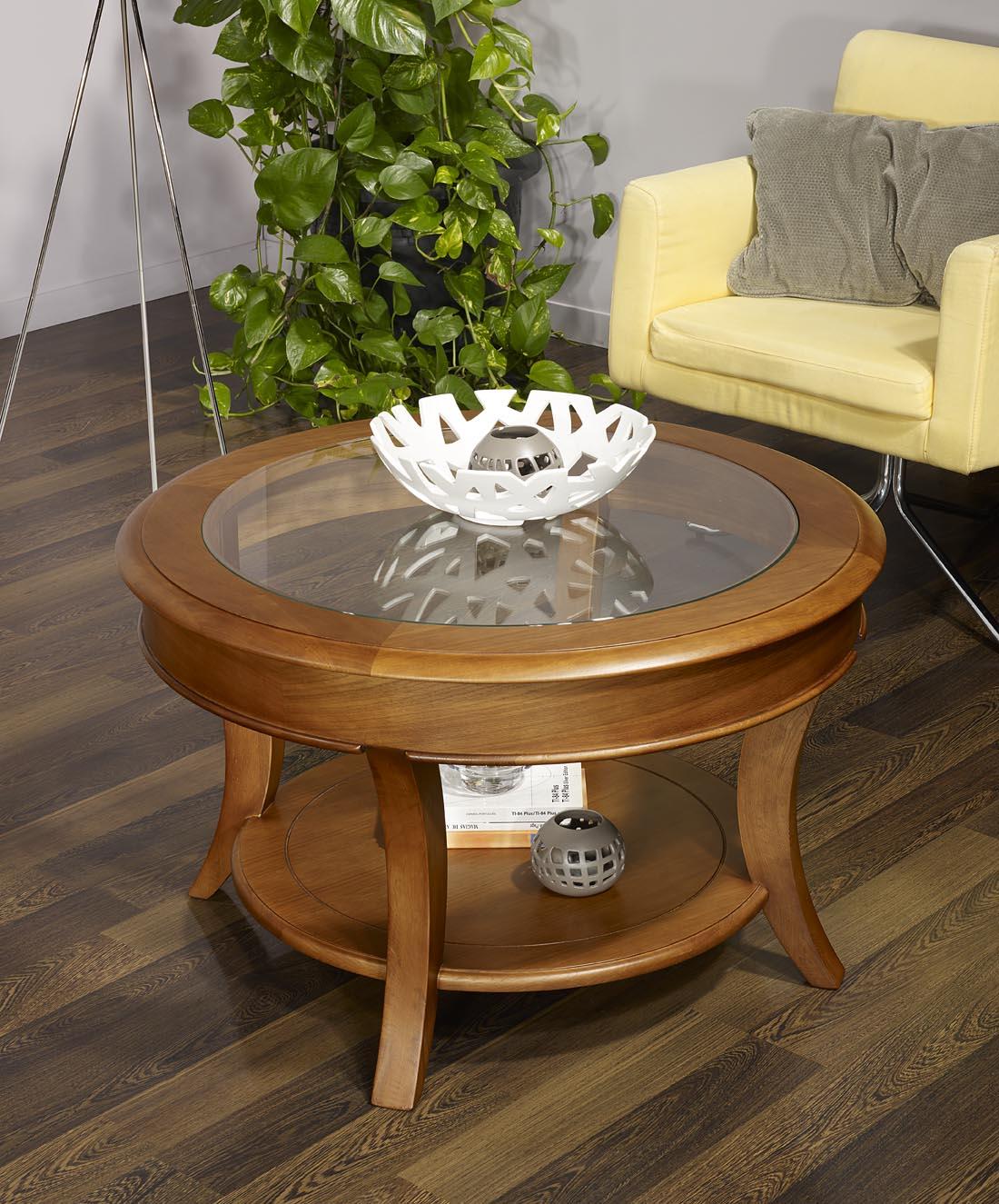 table basse ronde ga l en ch ne massif de style louis philippe plateau verre diam tre 80 cm. Black Bedroom Furniture Sets. Home Design Ideas