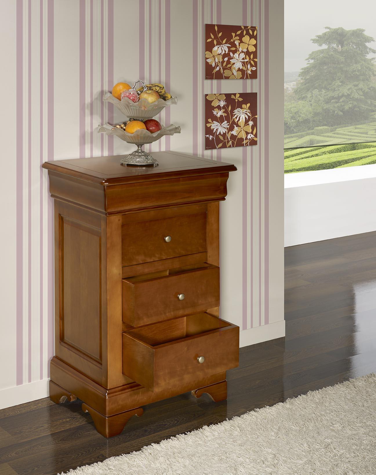 chiffonnier 4 tiroirs en merisier massif de style louis. Black Bedroom Furniture Sets. Home Design Ideas