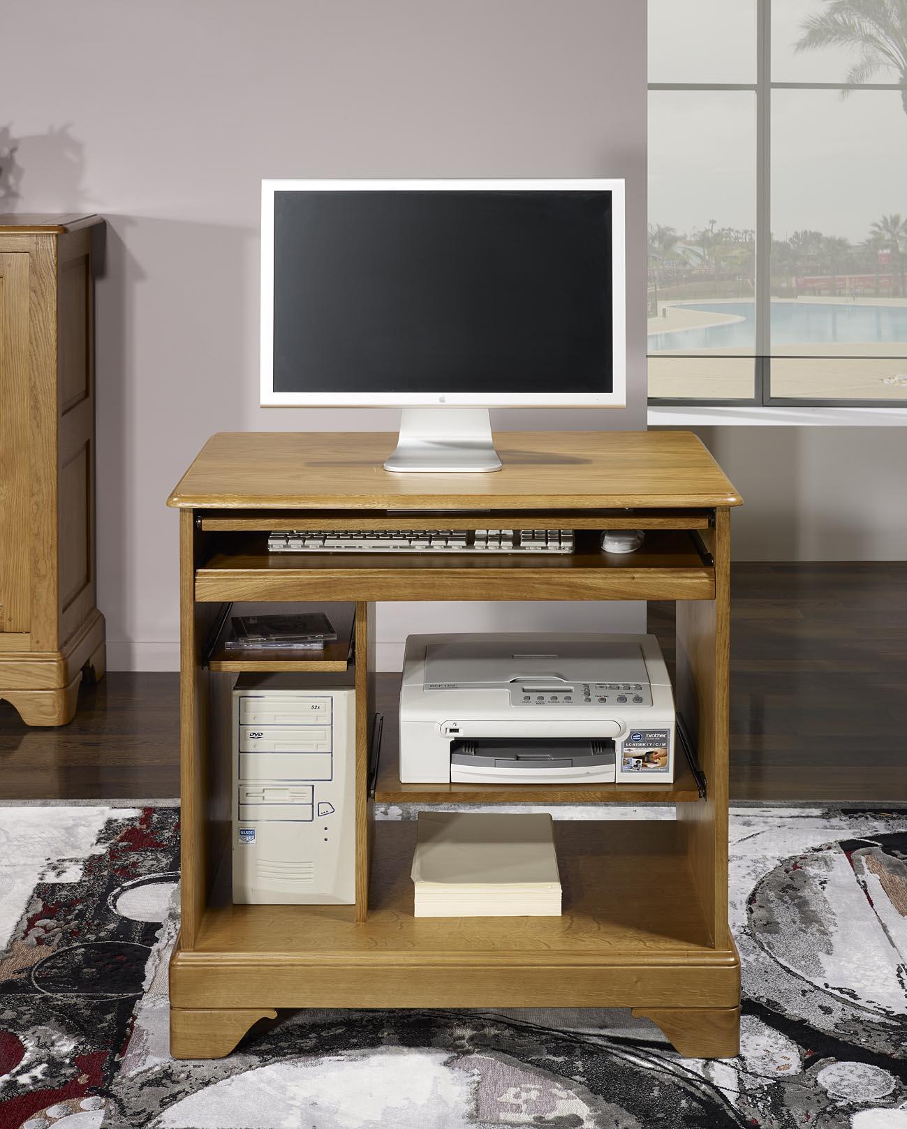petit bureau informatique en ch ne de style louis philippe. Black Bedroom Furniture Sets. Home Design Ideas