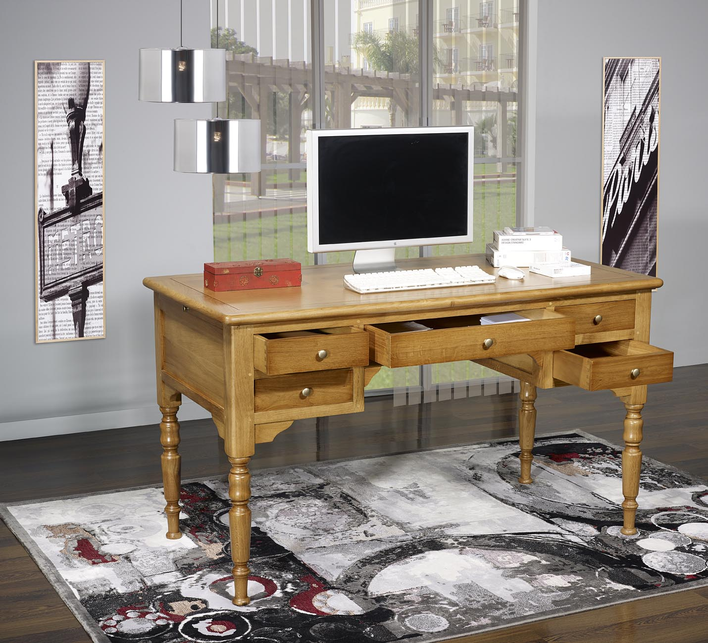 bureau ministre l o en ch ne massif de style louis philippe finition ch ne dor patine. Black Bedroom Furniture Sets. Home Design Ideas
