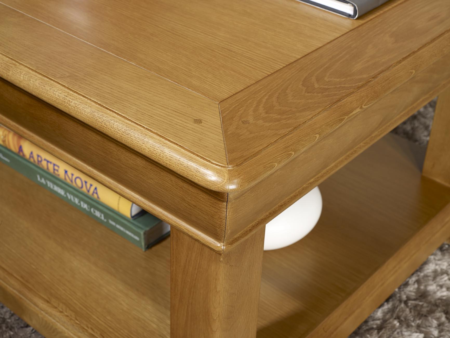 Table basse carr e 80x80 en ch ne de style louis philippe for Bon plan meuble