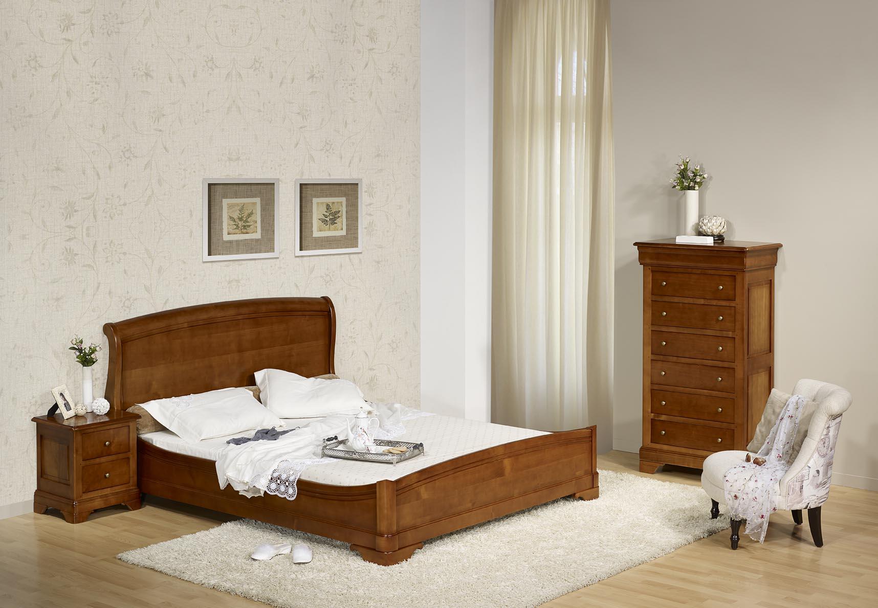 lit 160x200 en merisier massif de style louis philippe. Black Bedroom Furniture Sets. Home Design Ideas