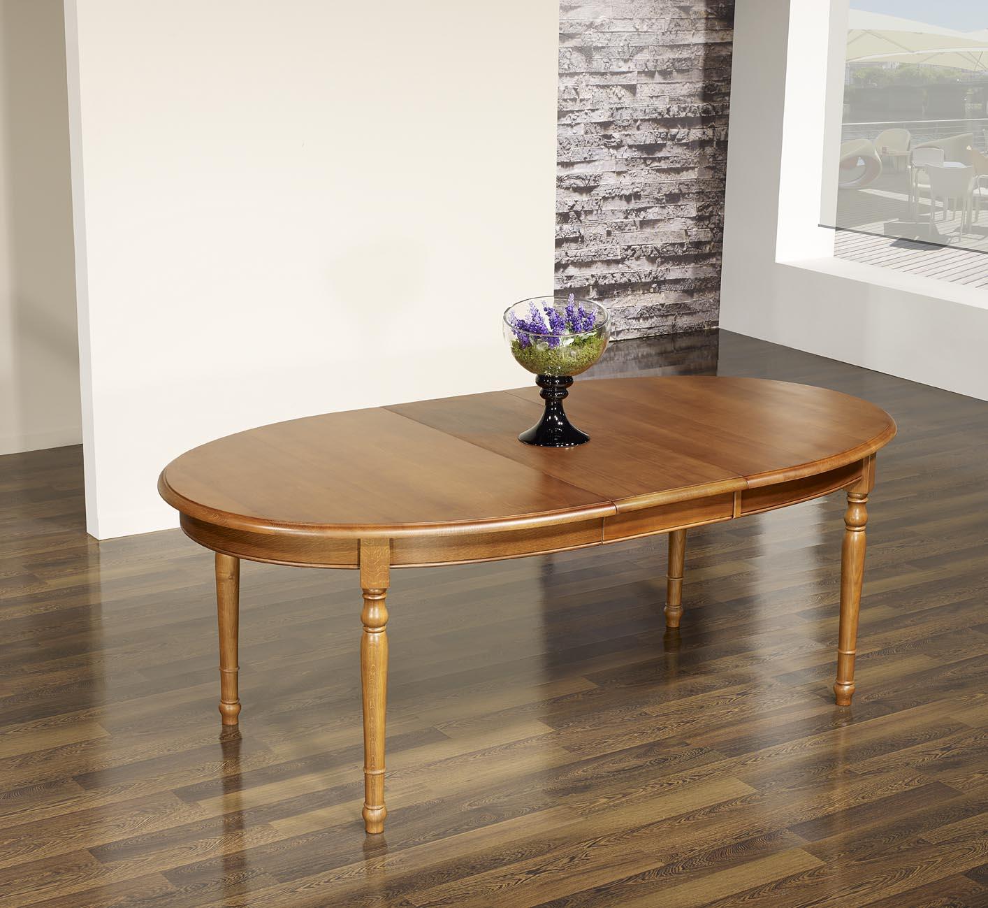 Table ovale 170x110 en ch ne massif de style louis for Table ovale chene massif