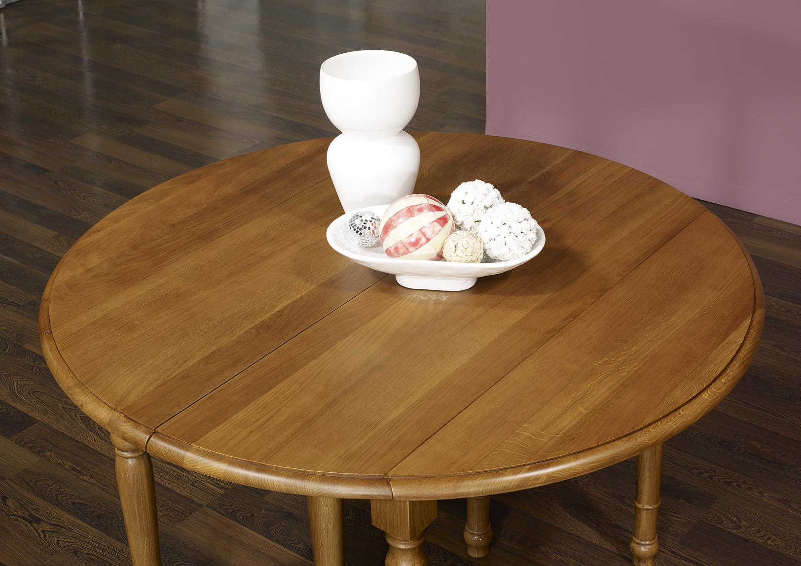 Table ronde volets en ch ne massif de style louis - Patine a l ancienne meubles ...