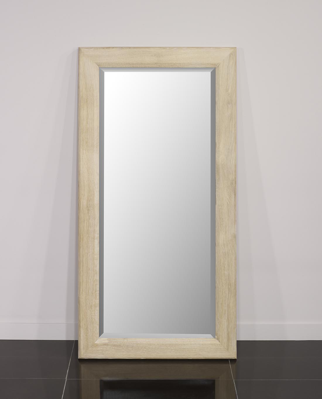 miroir glace biseaut e 120x60 en ch ne massif finition