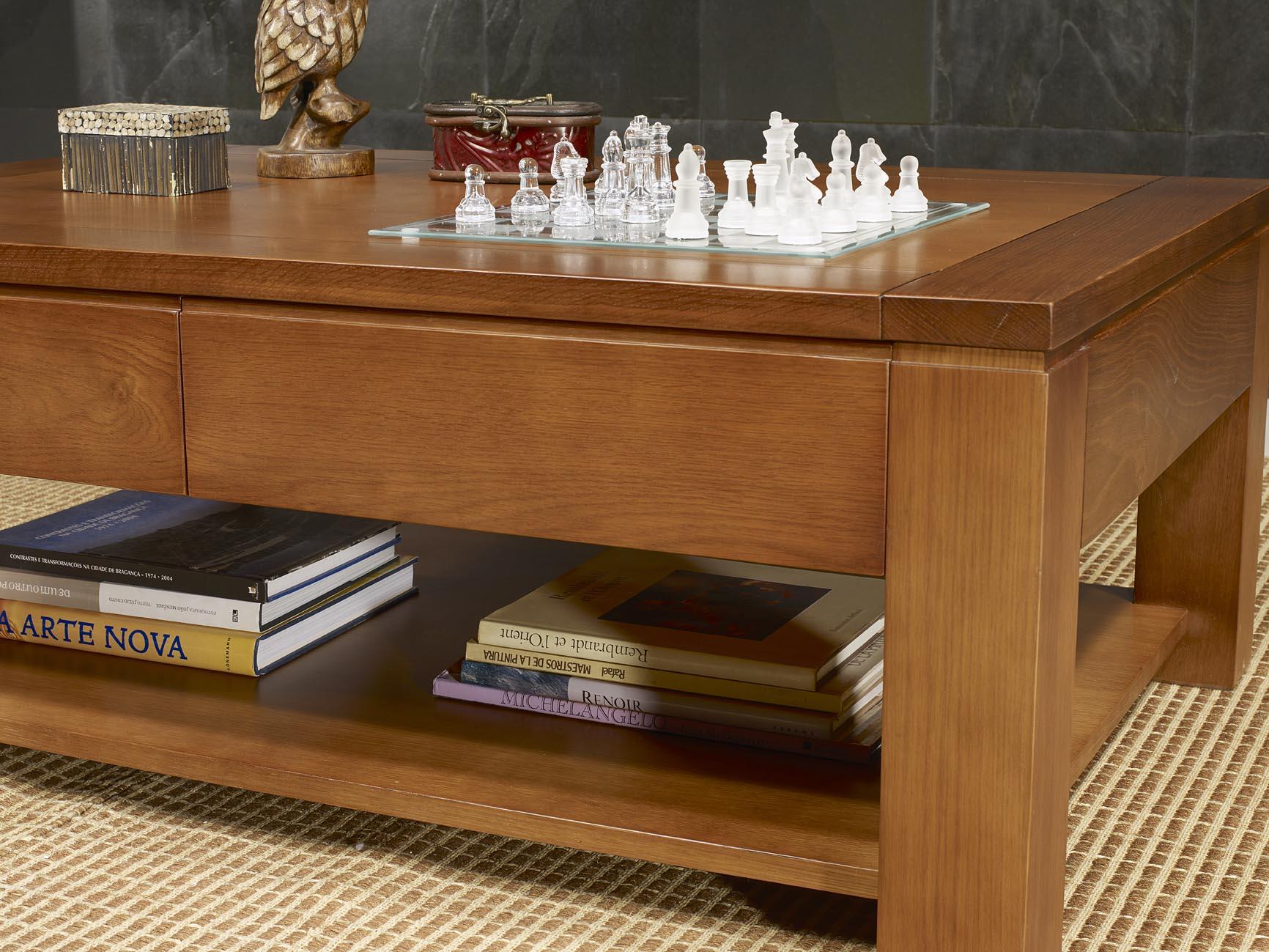 Table basse jean en ch ne massif ligne contemporaine finition cir e meuble en ch ne massif - Salon en bois massif ...