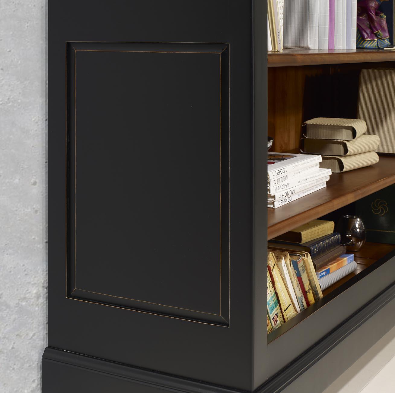 Biblioth que en merisier massif de style louis philippe for Meuble noir et bois