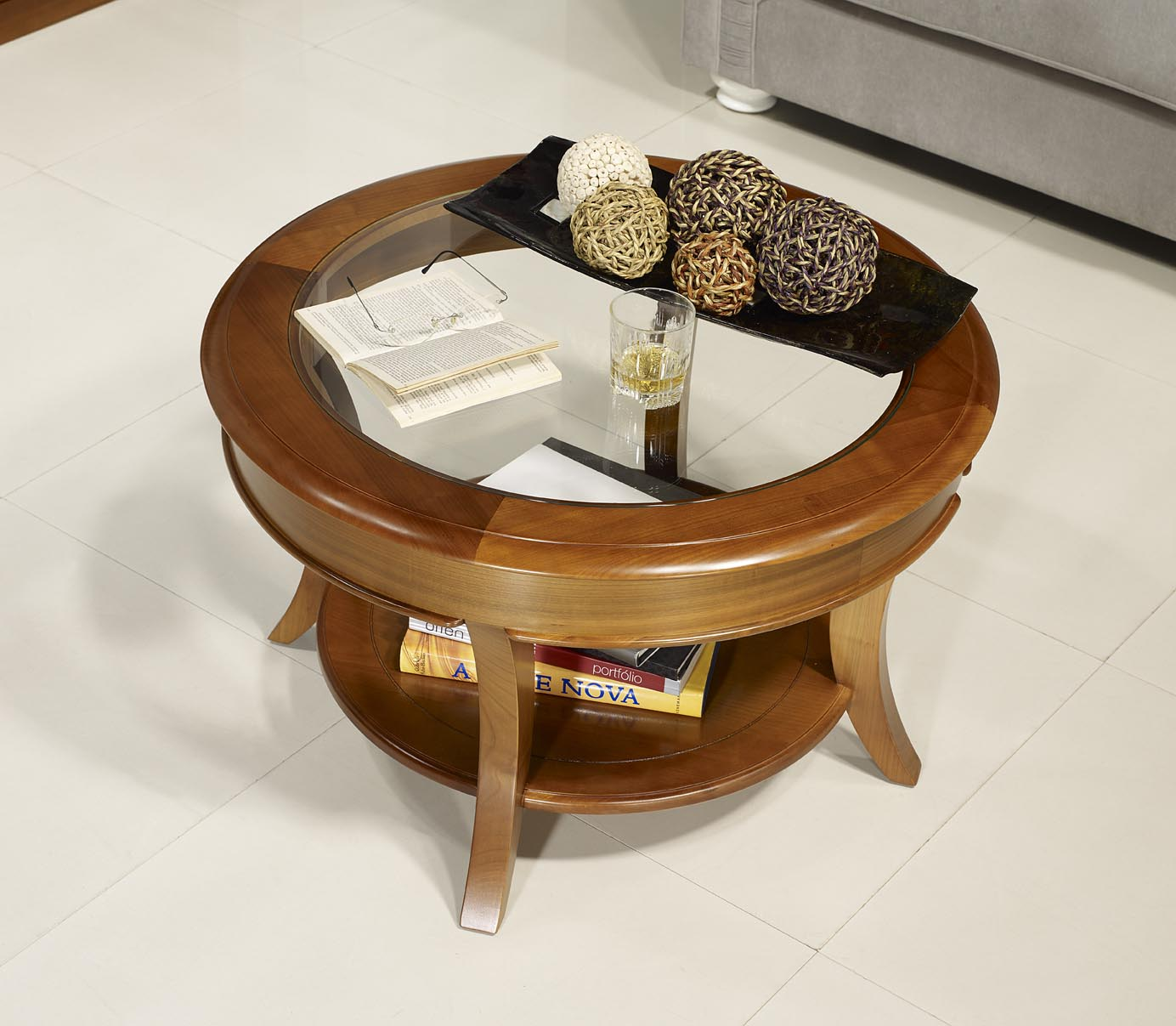 Table basse ronde melodie en merisier massif de style - Table basse en verre ronde ...