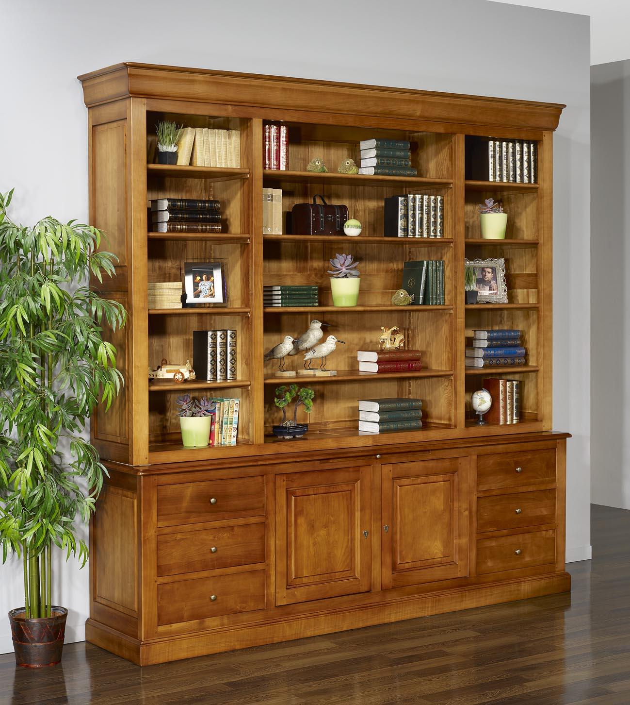 biblioth que 2 corps m lanie en merisier massif de style louis philippe longueur 242 cm meuble. Black Bedroom Furniture Sets. Home Design Ideas