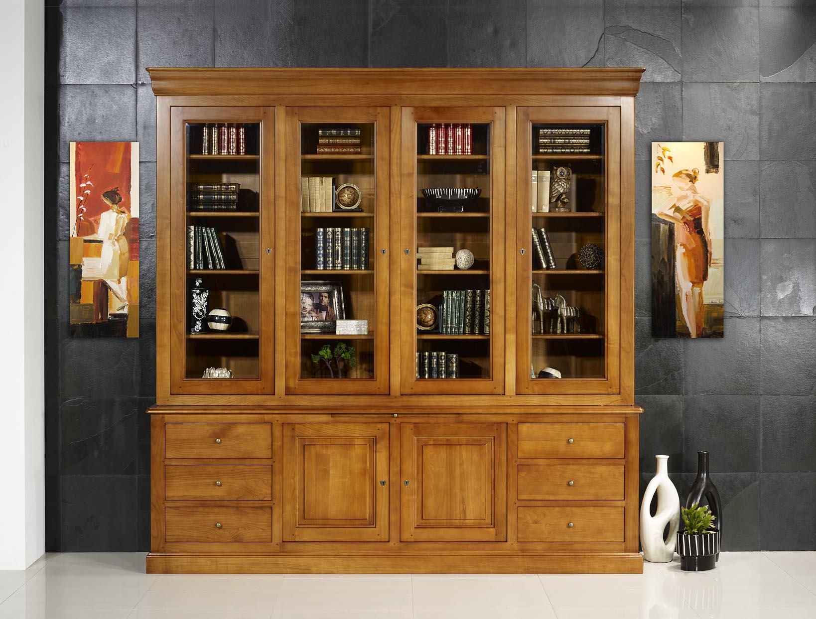 Biblioth que 2 corps agathe en merisier massif de style for Meuble bibliotheque bois massif