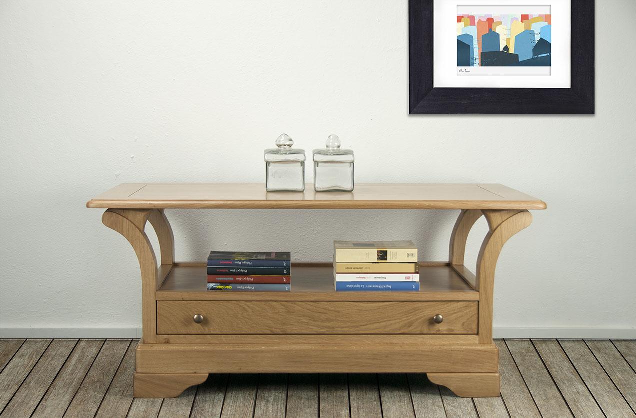 Table basse bertrand en ch ne massif de style louis philippe plateau bois meuble en ch ne massif - Plateau de table en chene massif ...