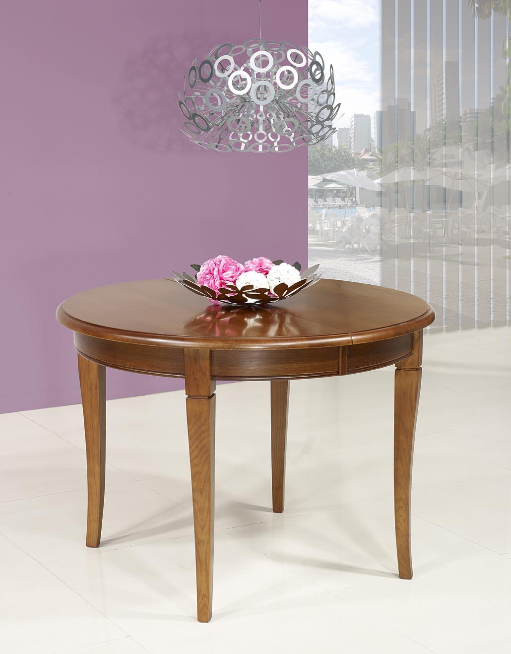 table ronde 4 pieds marc en ch ne massif de style louis philippe diam tre 120 1 allonge. Black Bedroom Furniture Sets. Home Design Ideas