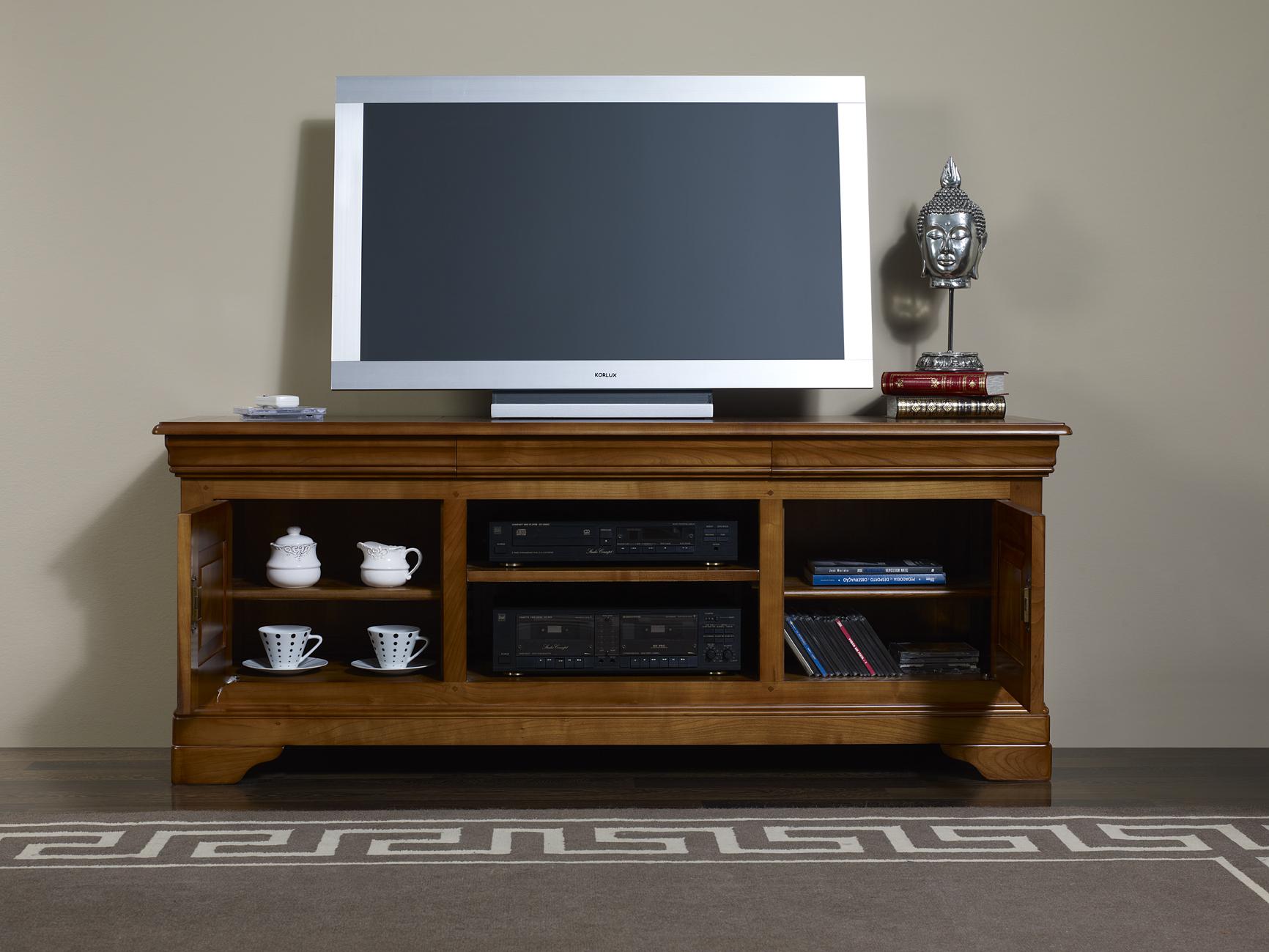 Meuble Tv 16 9 Me En Merisier Massif De Style Louis Philippe  # Table De Television En Bois