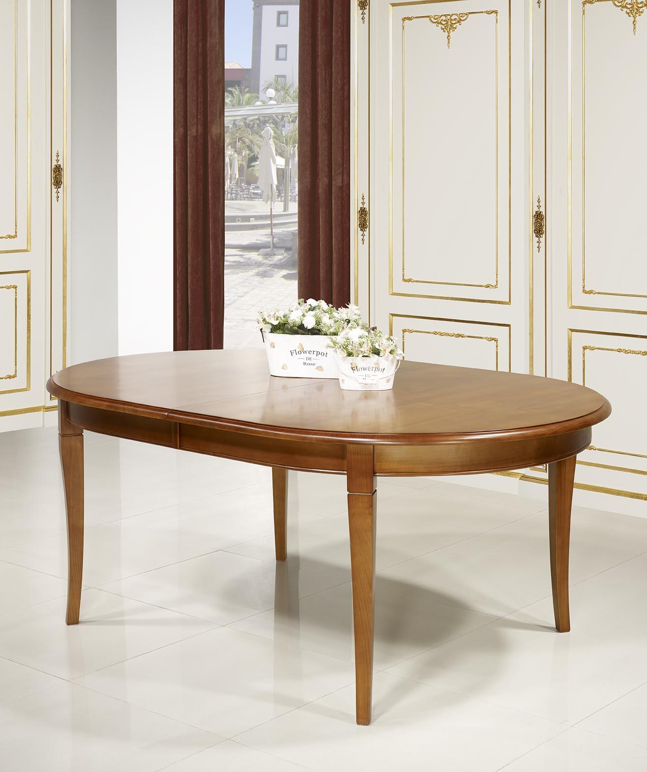 table ovale julie 180 120 en merisier massif de style louis philippe 5 allonges de 40 cm. Black Bedroom Furniture Sets. Home Design Ideas