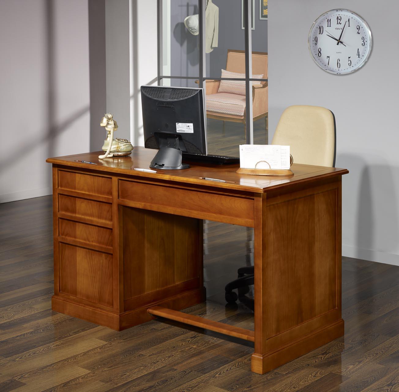 Bureau 5 tiroirs jeanne en merisier de style louis for Meuble a tiroir de bureau