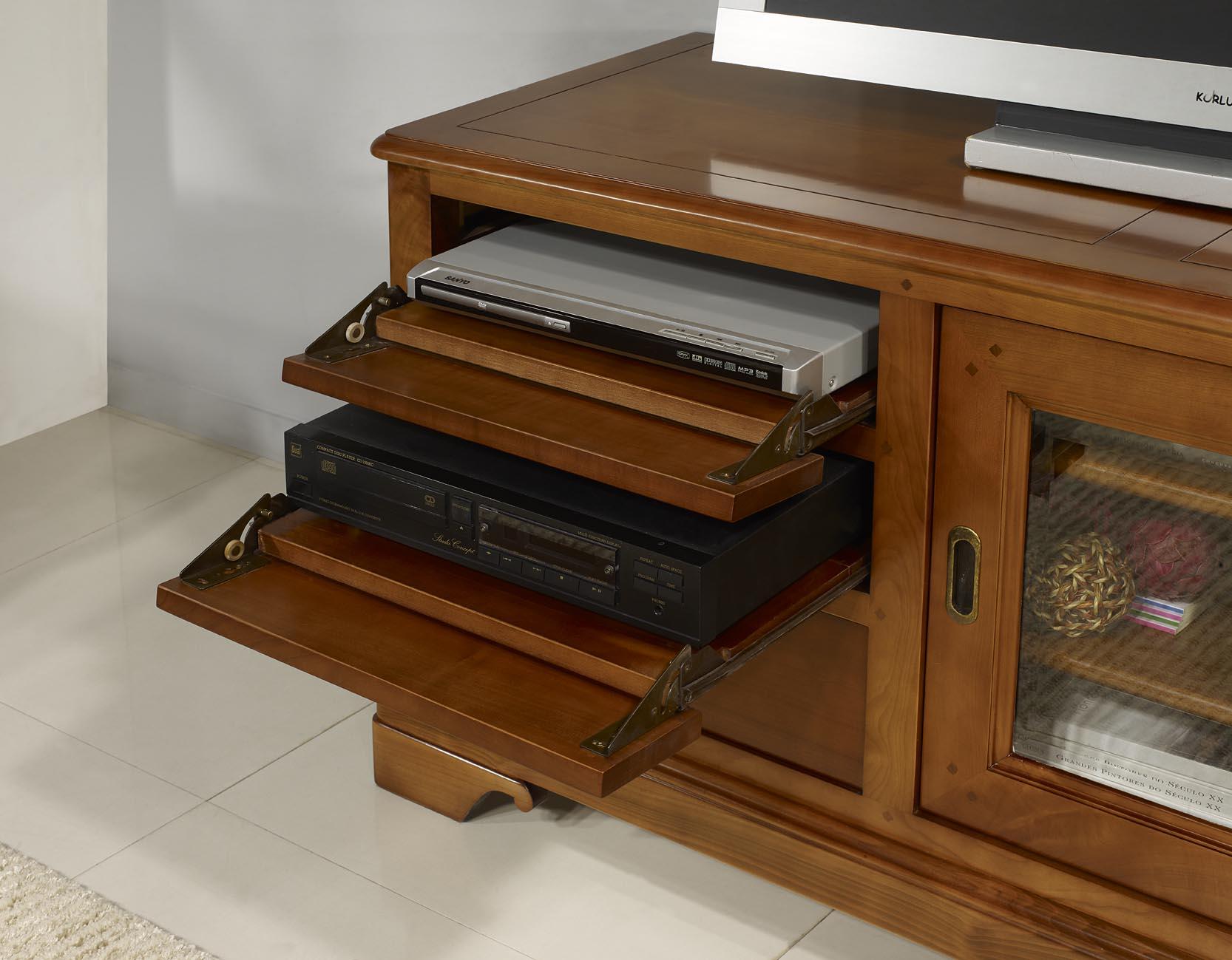 meuble tv 16 9eme martine en merisier massif de style. Black Bedroom Furniture Sets. Home Design Ideas