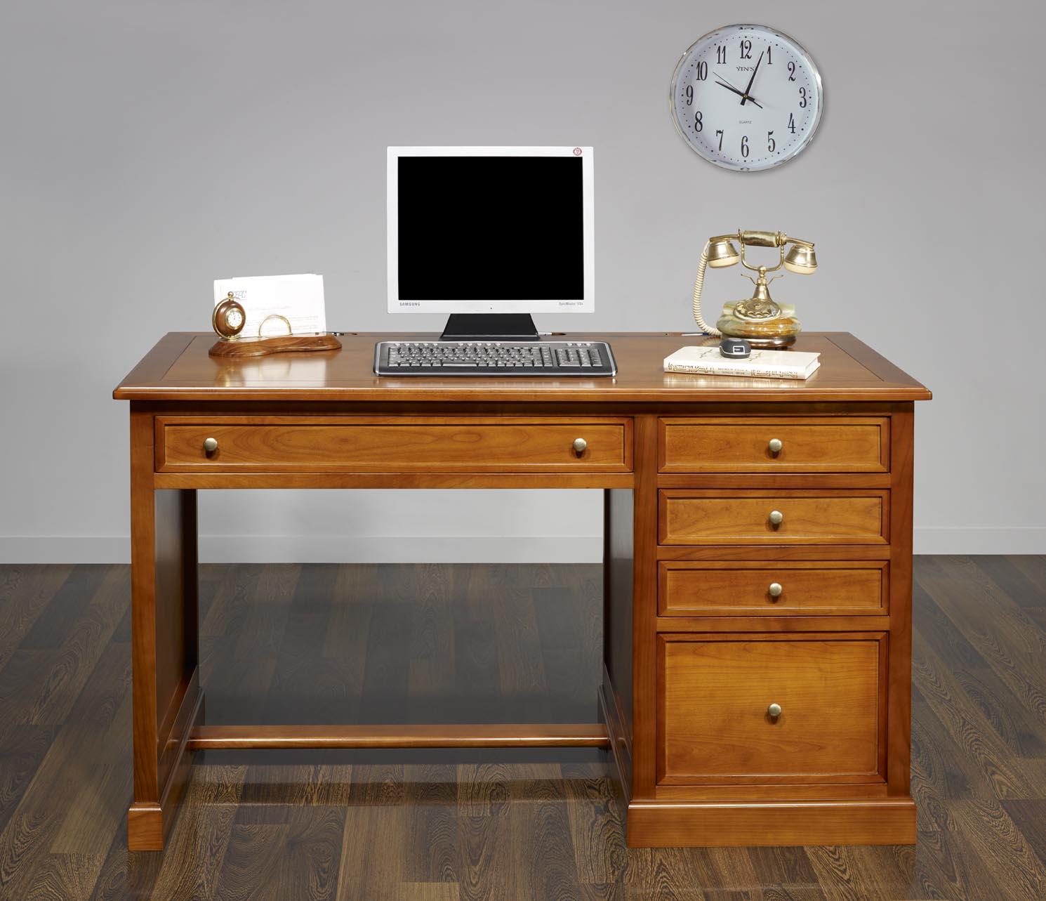 Bureau 5 tiroirs jeanne en merisier de style louis for Meuble bureau tiroir