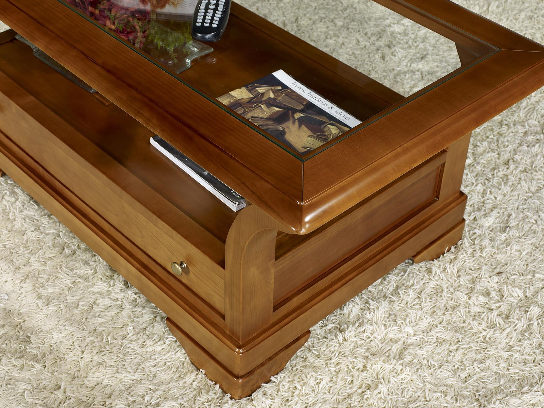 table basse constance en merisier massif de style louis philippe plateau verre meuble en. Black Bedroom Furniture Sets. Home Design Ideas