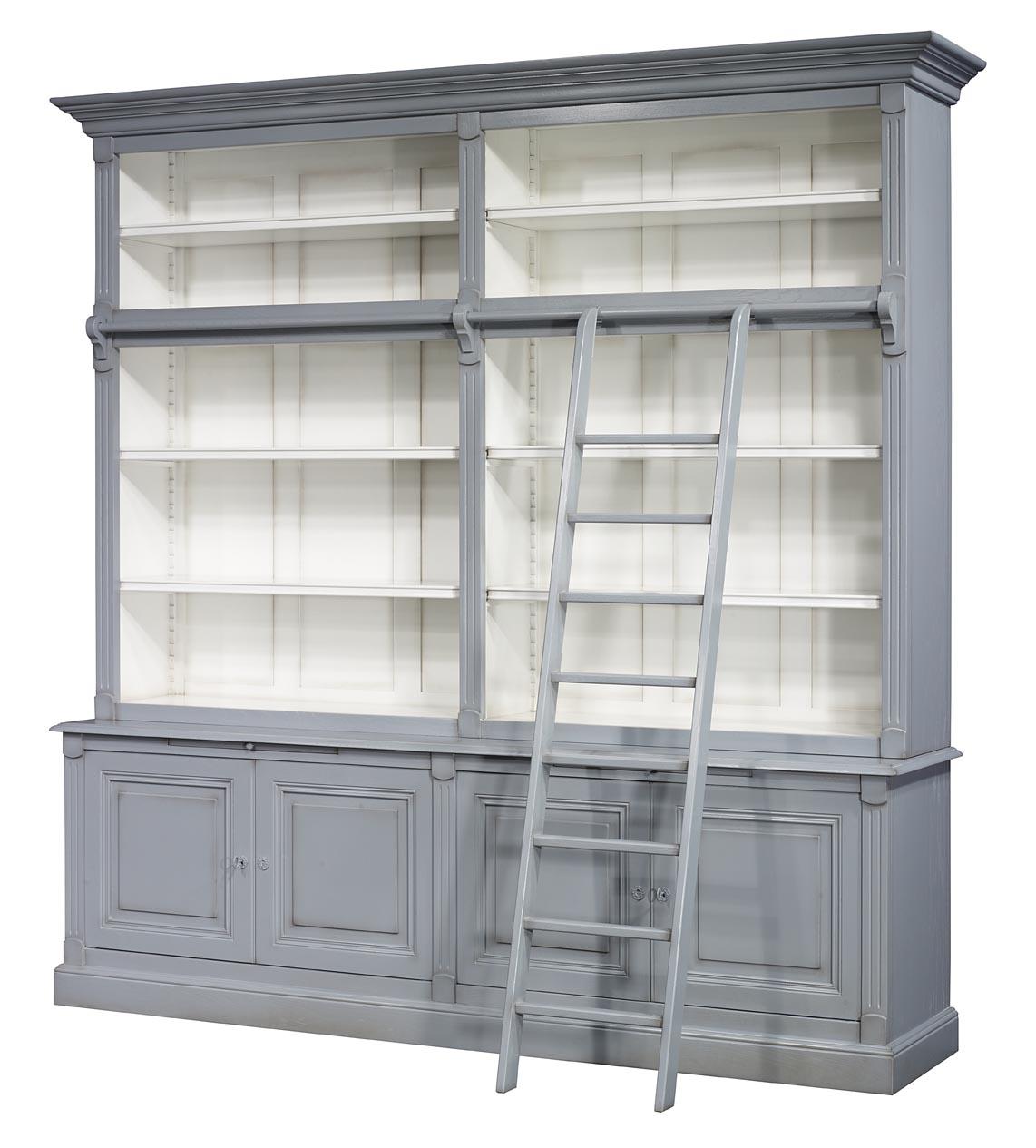 Biblioth que 2 corps 4 portes anne sophie en merisier - Meuble bibliotheque avec echelle ...