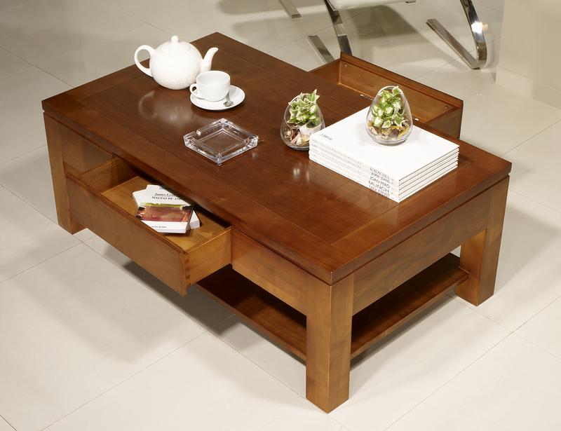 Table basse rectangulaire magaly en merisier ligne for Table rectangulaire bois