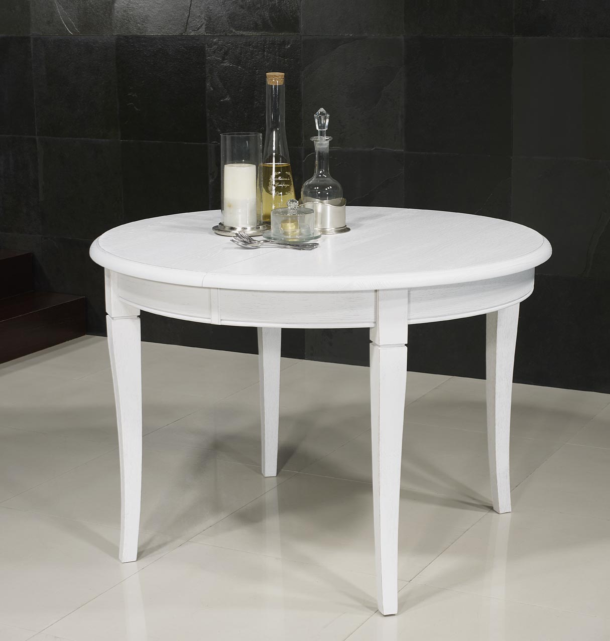 4fba3a5d7ffeed Table ronde en Chêne massif de style Louis philippe DIAMETRE 120 Finition  Chêne Brossé Ivoire , meuble en Chêne massif