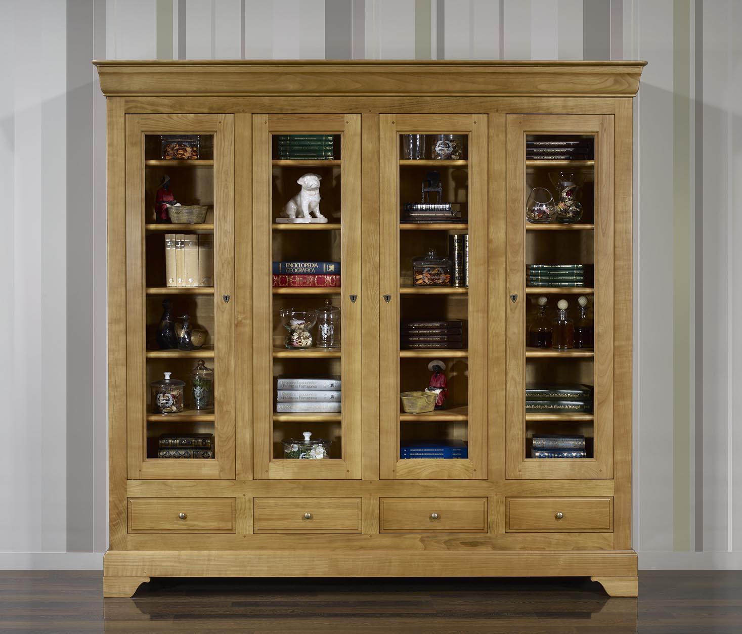 Biblioth Que 4 Portes Eliot En Merisier Massif De Style Louis  # Meuble Tv Bibliotheque Bois
