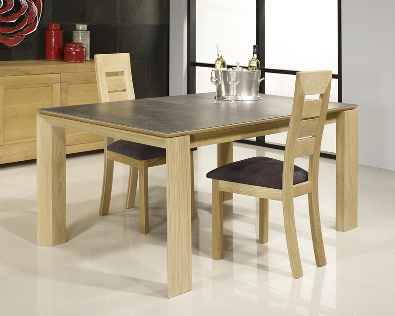 Table rectangulaire gaspard en ch ne plateau ceramique 1 for Table en ceramique rectangulaire
