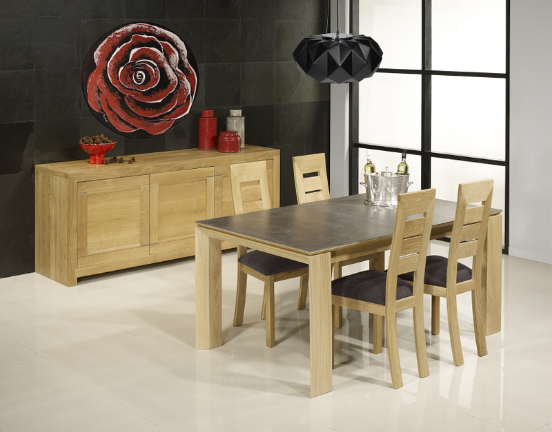 table rectangulaire gaspard en ch ne plateau ceramique 1 allonge l 39 italienne de 90 cm meuble. Black Bedroom Furniture Sets. Home Design Ideas