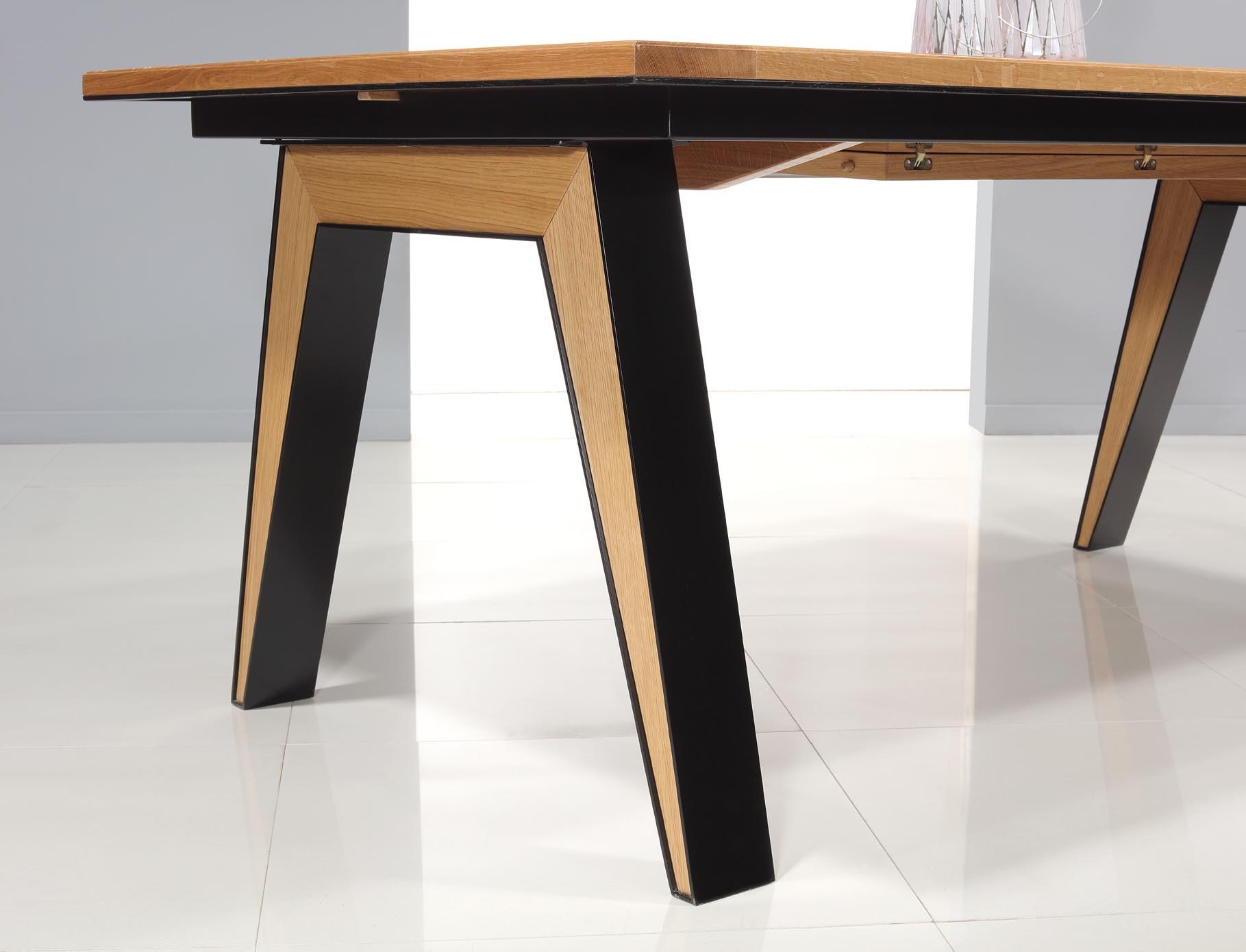 Table rectangulaire 180x100 en ch ne massif 1 allonge - Pied de table 90 cm ...